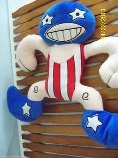 "Plush Man Wrestler Blue Mask Peek-A-Boo Toys 12"" Tall #peekabootoys"