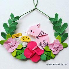 うさぎとキノコのミニリース クマさんからのアレンジ A rabbit and mushrooms. Arranging from a bear #origami #papercraft #paperflower #wreath #garland #mushroom #rabbit #walldecor #interiordecorating #wreathflower #おりがみ #ペーパークラフト #ペーパーフラワー #リース #ガーランド #壁飾り #きのこ #うさぎ #たかはしなな...