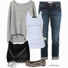Grey sweater white blouse denim pants denim pants with sleeper
