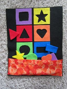 A wonderful shape sorter page. Miller Moments: Quiet Book Pages