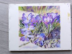 Fantastic watercolor crocus demo by Joel Simon (note the text is in French).