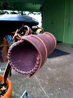 Round Leather Bicycle Bag - Saddlebag/Handlebar Bag. $75.00, via Etsy.
