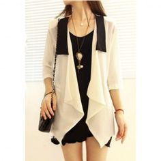 Women's Voile Blouse With Flounce Lapel Three-Quarter Sleeves Design (WHITE) China Wholesale - Sammydress.com