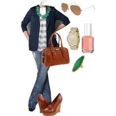 Plus Size Navy Blazer, Stripes and Jeans #plus size