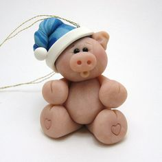 *POLYMER CLAY ~ Chubby Christmas Pig by Clayin' Around, via Flickr