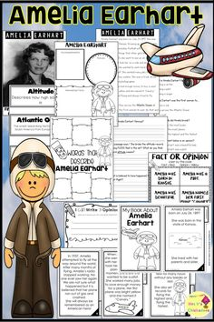 Women's History Month | Amelia Earhart | Lessons and Activities | First Grade | Second Grade | Third Grade | Social Studies Lessons | Biography
