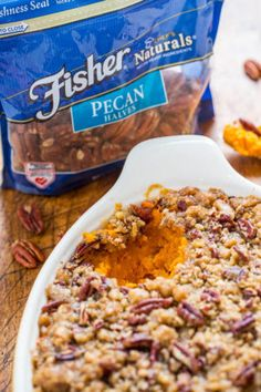 Sweet Potato Casserole with Butter Pecan Crumble Topping - The holiday classic just got even BETTER because of the amazing TOPPING!! A buttery, brown sugary, crunch that's irresistible! Easy and you can pre-assemble to save time!!