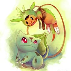 New Friends: Bulbasaur and Chespin by eldrige.deviantart.com on @deviantART