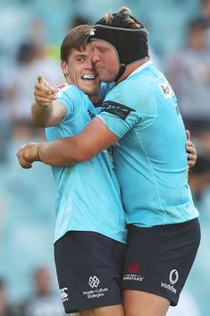 Mitch Short of the Waratahs celebrates scoring a try with Damien. Super Rugby, Sydney Australia, Scores, Photo Wall, March, Culture, Couple Photos, Celebrities, People