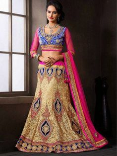 Cream Net Lehenga Choli With Embroidery Work www.saree.com