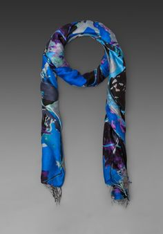 TOLANI Watercolor Scarf in Blue