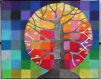 Items similar to Tiny Test Pattern Tree 6 print, with handpainted details on Etsy Piet Mondrian, Artists For Kids, Art For Kids, Blog Art, Caran D'ache, Tree Quilt, Textile Fiber Art, Tiny Prints, Art Courses