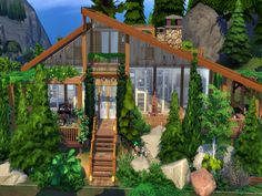 Small rustic cottage for a sim couple. A very homey and comfortable space away from the bustle of the city. Found in TSR Category 'Sims 4 Residential Lots' Sims Baby, Sims 4 House Design, Sims House Plans, Sims Building, Casas The Sims 4, Guest Cabin, Small Loft, Sims 4 Build, Outdoor Retreat