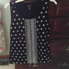 Sleeveless top Style and Co Black sleeveless top with white floral places size medium Style & Co Tops Tank Tops