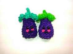 3-D Happy Eggplant (Aubergine)Tutorial (Rainbow Loom)