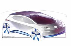 Volkswagen revealed (sort of) its all-electric study through a set of sketches.