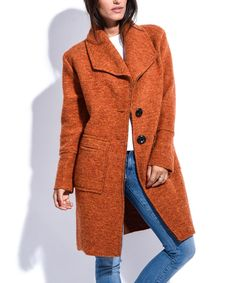 Love this Maille Girl Orange Wool-Blend Carole Coat by Maille Girl on   zulily 19e4bdc25c56