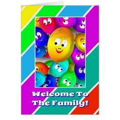 Cute Welcome To The Family Balloons Greeting Card