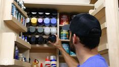 Spray painting Walls - DIY Wall Cabinets with 5 Storage Options. Diy Garage Storage Cabinets, Garage Tool Storage, Can Storage, Shop Storage, Diy Cabinets, Garage Workbench, Storage Ideas, Spray Paint Storage, Spray Paint Cans