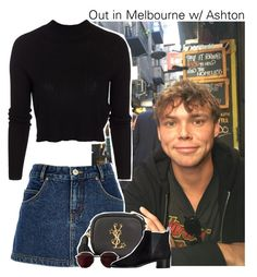 """Out in Melbourne w/ Ashton"" by amberamelia-123 ❤ liked on Polyvore featuring River Island, Yves Saint Laurent, ONLY, Ray-Ban and Acne Studios"