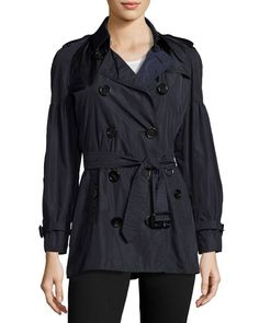 BURBERRY Middlemere Bell-Sleeve Short Trench Coat, Navy. #burberry #cloth #