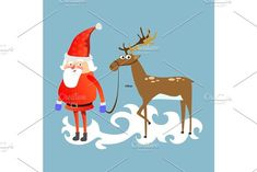 santa claus in red hat and jacket, with beard holding halper reindeer, marry of christmas and happy new year vector illustration on blue background card. Banner