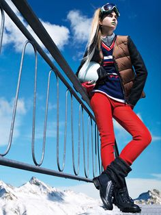 Marni vest, Obermeyer V-neck sweater, Under Armour turtleneck, Sonia Rykiel pants, Smith Optics goggles, and helmet, LaCrasia Gloves gloves, Chanel boots.