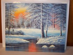 "Signed Winter Forrest Scene Painting (SKU 13-270) Size: 16"" x 20"" Colors: gray, black, white, orange, yellow"