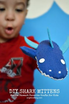 DIY Shark Mittens - perfect craft for #SharkWeek!