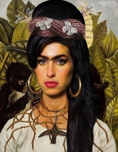 Amy Winehouse as Frida Kahlo. LOVE I like to remember Amy Winehouse as the talented creative she was. Diego Rivera, Amy Winehouse, Art And Illustration, Tableaux Vivants, Frida And Diego, Arte Pop, Cultura Pop, Star Wars, Celebs