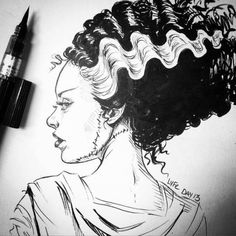 lyfeillustration: day 13 the bride of Frankenstein 💀💚 thanks for all your interest in my inktobers everyone! I'll be announcing how you can preorder my Inktober Zine/Artbook soon! All preorders will get a signed copy with an original doodle :) Frankenstein Tattoo, Bride Of Frankenstein, Horror Drawing, Horror Art, Manga Anime, Anime Art, Horror Villains, Queen Anime, Fanart