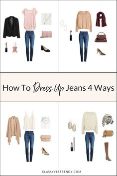 How To Dress Up Skinny Jeans 4 Ways - Jeans are a staple in our closet. See them in 4 outfit ideas with high waisted skinny jeans, a sweater, cami, cardigan, tee, blazer, block heel pumps, leopard heels, over the knee boots, scarf, crossbody and handbag.