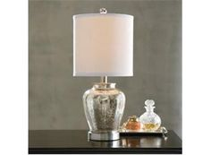 this would be great in my bedroom. Mercury Glass Lamp  - Grandin Road