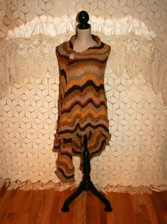 Bohemian Fall Clothing Hippie Shawl Brown Knitted by MagpieandOtis