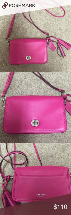 Coach legacy penny crossbody bag in hot pink Great condition! I didn't see any scratch. Coach Bags Crossbody Bags