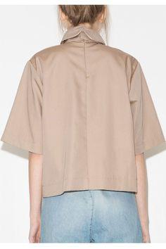 435a8bb62 Khaki High Collar Shirt - Oversize Tan Collar Shirt #eyeoftex   Tops ...