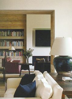 Recessed hearth TV, rustic wood built-in; Atelier AM