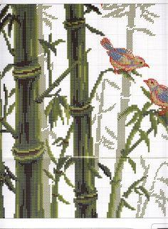 Motivos Orientais - Floresta de Bambus - Esquemas de Ponto de Cruz