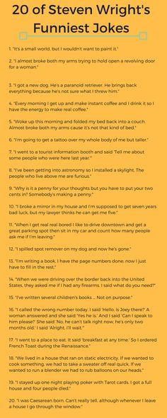 20 of Steven Wright-s Funniest Jokes Dry Humor Jokes, Funny Jokes, Hilarious, Funniest Jokes, Epic One Liners, Funny One Liners, Funniest One Liners, One Liner Jokes, Steven Wright