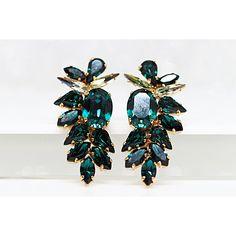 Emerald Cluster Earrings, Dark Green Earrings, Rhinestone... ($92) ❤ liked on Polyvore featuring jewelry, earrings, crystal jewelry, rhinestone earrings, emerald stud earrings, bridal jewelry and bride earrings