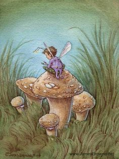 Yaamas Artist Mushroom Fairy Greeting Card by brownieman