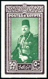 """Egypt  1944-51 """"Military"""" Issue 50pi bi-color trial from a sheetlet of 9 from the Royal Printings, effigy of King Farouk in green, very fine & rare (NP RPD171ct (b), see Nile Post page 180)  Dealer David Feldman S. A. Geneva  Auction Minimum Bid: 1000.00 EUR"""