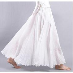 73176a587c139a 2018 Women Linen Cotton Long Skirts Elastic Waist Pleated Maxi Skirts  Beacheavengifts. MaxirokkenZomerse RokkenHoge ...