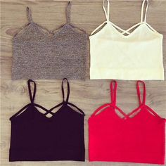 NWT strap oh bralette/crop top New in packaging gray strappy crop top! Can be used under a shirt or with high waisted shorts! Super cute and perfect for the summer! last 3 pictures are mine! **Not from listed brand** Brandy Melville Tops