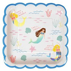 Mermaid Party Supplies Mermaid Birthday Party Theme Paper Plates Pak of Pak of x mermaid paper plates. Have a mermaid birthday party. These mermaid paper plates will carry out your mermaid party theme. Matching paper napkins and paper cups are available. Mermaid Baby Showers, Baby Mermaid, Mermaid Birthday, Girl Birthday, Mermaid Tails, Birthday Ideas, Mermaid Shell, Mermaid Under The Sea, Under The Sea Party