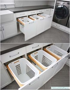 20 Awesome Laundry Room Storage and Organization Ideas                                                                                                                                                                                 More Washing Machine, Laundry, Home Appliances, Cabinet, Storage, Furniture, Home Decor, Laundry Room, House Appliances