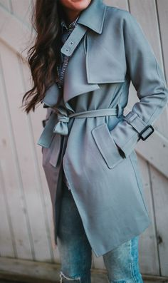 Cool grey! Step out in this subtly hued trench coat with its textured belt, exaggerated lapels and cuffs decorating the sleeves and shoulders. Textured Belted Trench Coat in Grey(Item number:T20141104014) featured by prettyinthepines Blog
