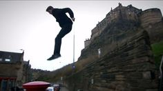 16-year-old Robbie Griffith shows off his freerunning skills as he recreates the opening scene from Trainspotting in Parkour style.