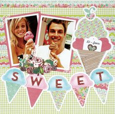 Ali & Jason's Sweet Ice Cream Scrapbook Page featuring the Penelope Paper Pack