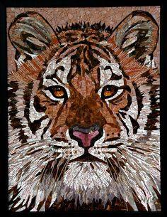 Tiger - Glass Mosaic  Dichtbij nog mooier